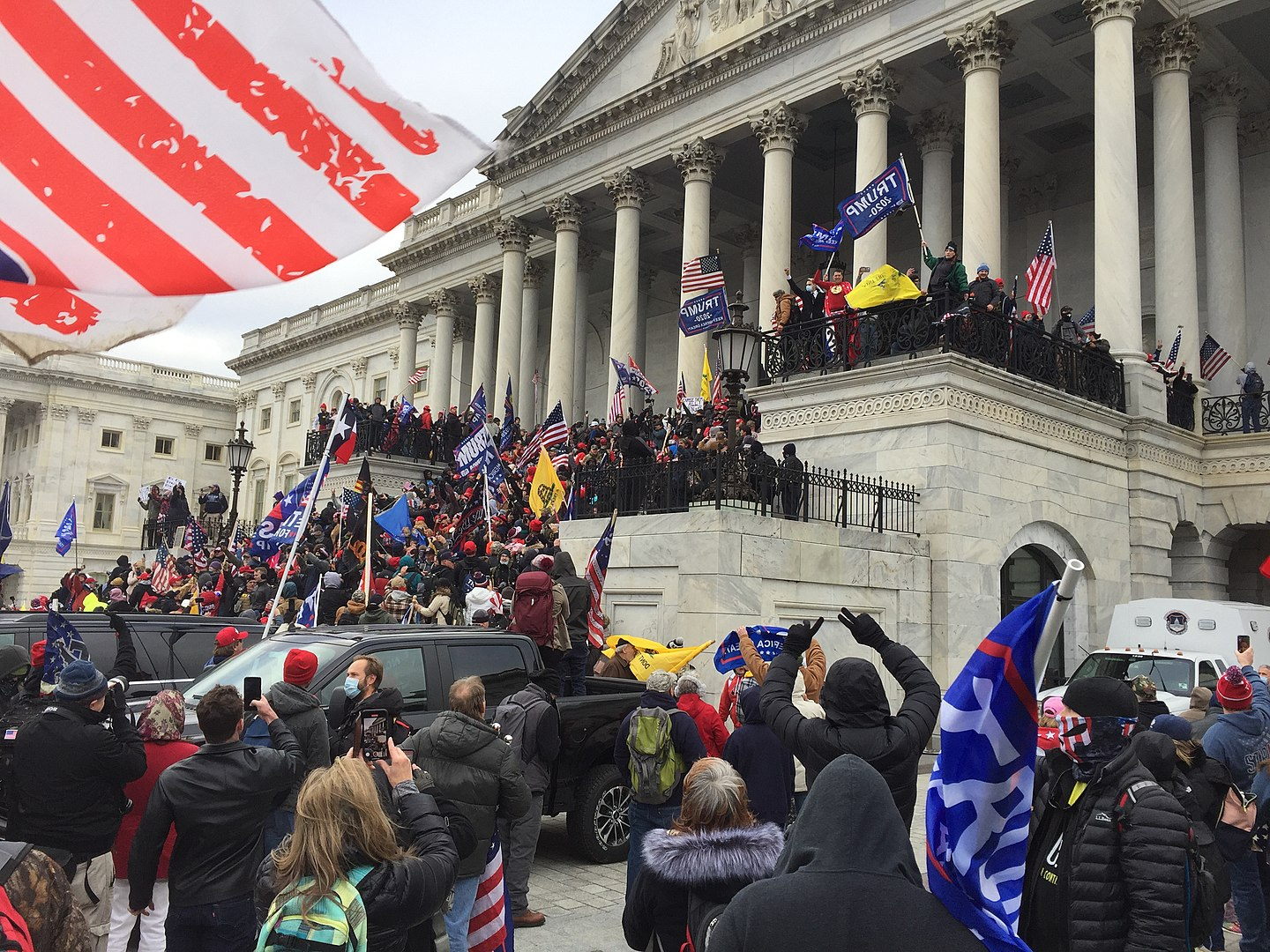 Trump supporters crowding the steps of the Capitol